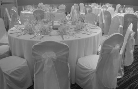 Ivory chair cover with white sash, VA